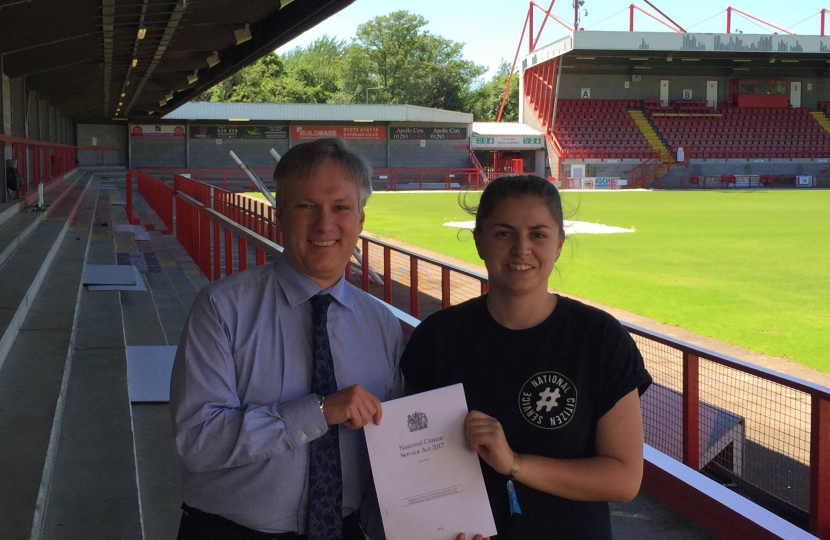 Henry Smith presents NCS Act to Crawley Town Community Foundation
